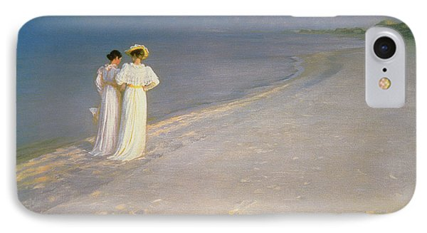 Summer Evening On The Skagen Southern Beach With Anna Ancher And Marie Kroyer IPhone Case by Peder Severin Kroyer
