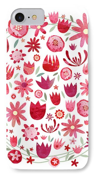 Summer Flower Circle IPhone 7 Case by Nic Squirrell