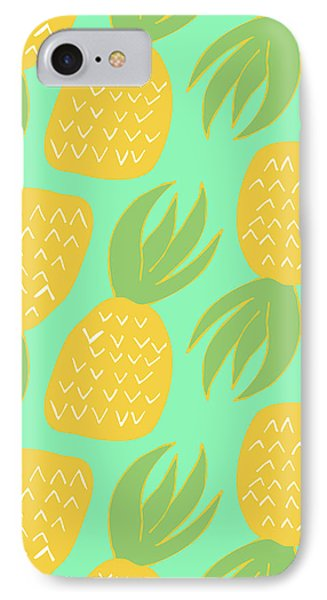 Summer Pineapples IPhone Case by Allyson Johnson