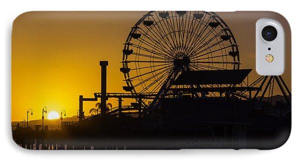 Sun Setting Beyond Ferris Wheel IPhone Case by Garry Gay
