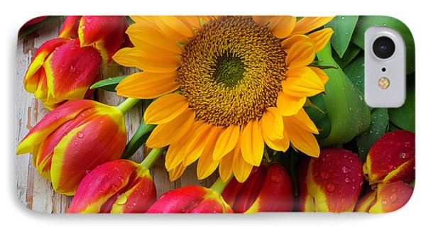 Sunflower With Red And Yellow Tulips IPhone Case by Garry Gay