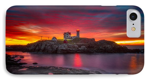 Sunrise Over Nubble Light IPhone Case by Darren  White