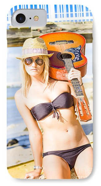 Sunset Busker Holding Guitar In Tropical Paradise IPhone Case by Jorgo Photography - Wall Art Gallery