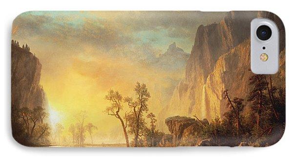 Sunset In The Rockies IPhone Case by Albert Bierstadt