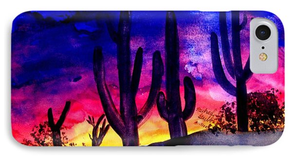 Sunset On Cactus IPhone Case by Michael Grubb