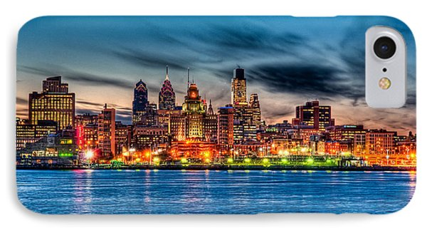 Sunset Over Philadelphia Phone Case by Louis Dallara