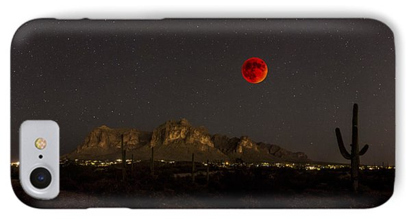 Super Bloodmoon Over The Superstition Mountains IPhone Case by Chuck Brown