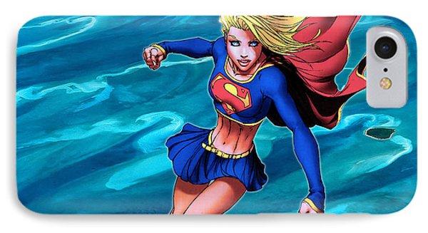 Supergirl Flying Above The Ocean IPhone Case by Jeremy Tisler