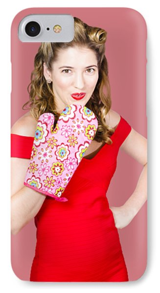 Surprise Cooking Pinup Woman With Cook Mitt IPhone Case by Jorgo Photography - Wall Art Gallery