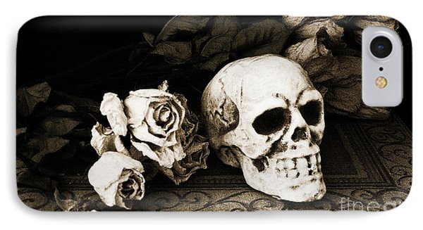 Surreal Gothic Dark Sepia Roses And Skull  IPhone Case by Kathy Fornal