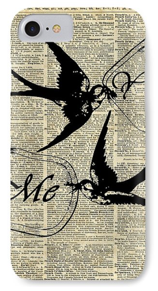 Swallows In Love,flying Birds Vintage Dictionary Art IPhone Case by Jacob Kuch
