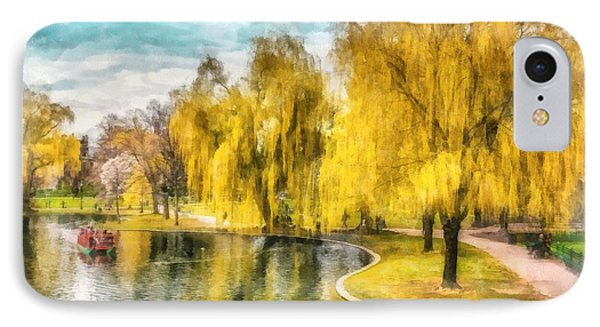 Swan Boats Boston Public Garden IPhone Case by Edward Fielding