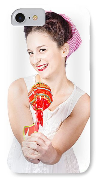 Sweet Lolly Shop Lady Offering Over Red Lollipop Phone Case by Jorgo Photography - Wall Art Gallery
