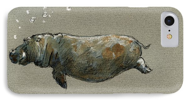 Swimming Hippo IPhone Case by Juan  Bosco