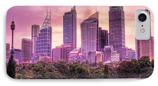 Sydney Tower Skyline At Sunset Phone Case by Chris Smith
