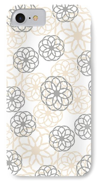 Tan And Silver Floral Pattern IPhone Case by Christina Rollo
