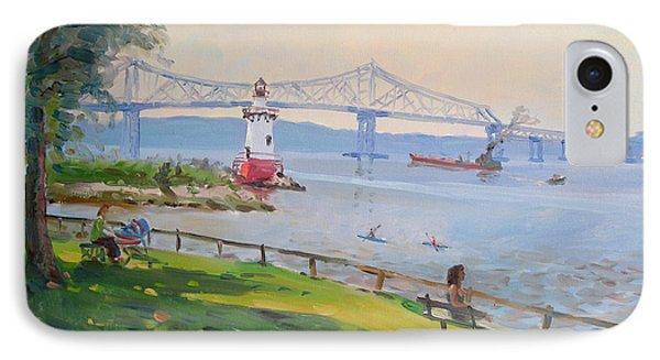 Tappan Zee Bridge And Light House IPhone Case by Ylli Haruni