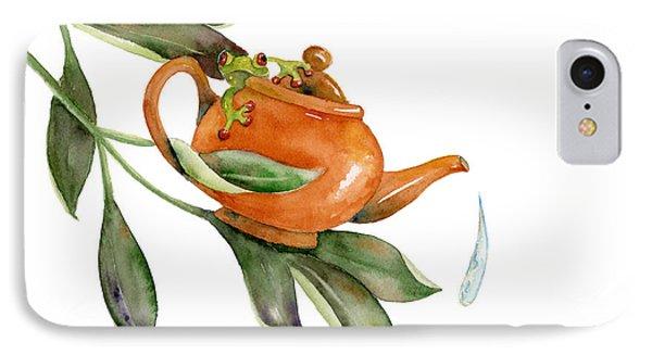 Tea Frog IPhone Case by Amy Kirkpatrick