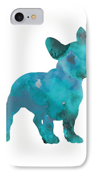 Teal Frenchie Abstract Painting IPhone 7 Case by Joanna Szmerdt