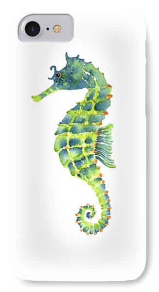 Teal Green Seahorse - Square IPhone 7 Case by Amy Kirkpatrick