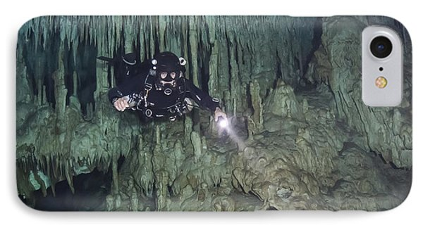 Technical Diver In Cave System, Mexico Phone Case by Karen Doody