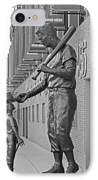 Ted Williams Statue Boston Ma Fenway Park Black And White IPhone Case by Toby McGuire