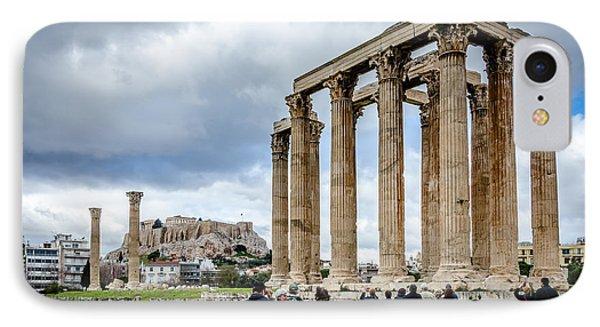 Temple Of Zeus And Acropolis - Athens Greece 2 IPhone Case by Debra Martz