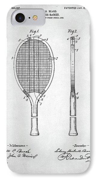 Tennis Racket Patent 1907 IPhone 7 Case by Taylan Apukovska