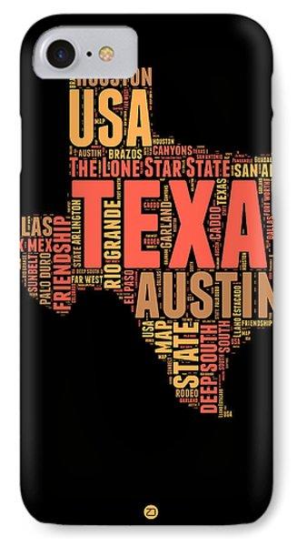 Texas Word Cloud 1 IPhone Case by Naxart Studio