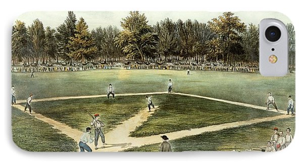 The American National Game Of Baseball Grand Match At Elysian Fields IPhone Case by Currier and Ives