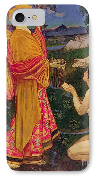 The Angel Offering The Fruits Of The Garden Of Eden To Adam And Eve Phone Case by JBL Shaw