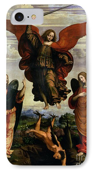The Archangels Triumphing Over Lucifer IPhone Case by Marco DOggiono