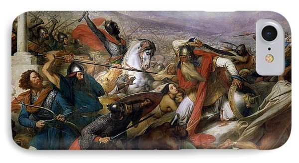 The Battle Of Poitiers IPhone Case by Charles Auguste Steuben