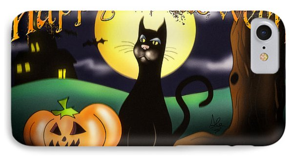 The Black Cat Greeting Card IPhone Case by Alessandro Della Pietra