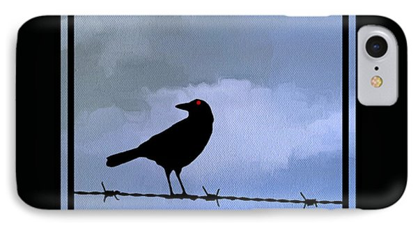 The Black Crow Knows Blue IPhone Case by Edward Fielding