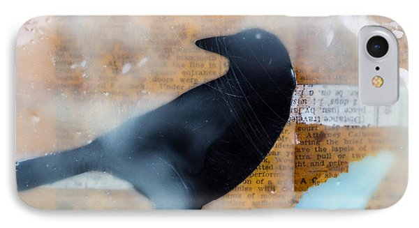 The Black Crow Knows Mixed Media Encaustic IPhone Case by Edward Fielding