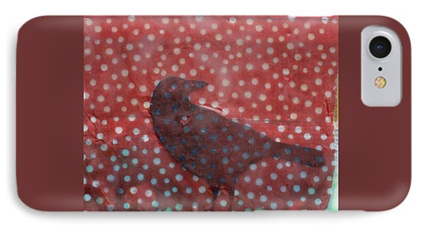 The Black Crow Knows Snowfall Encaustic Mixed Media IPhone Case by Edward Fielding