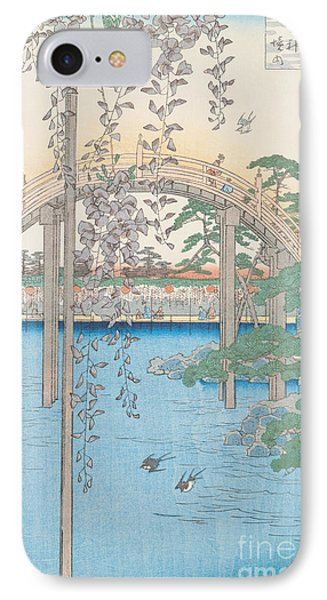 The Bridge With Wisteria IPhone Case by Hiroshige