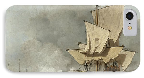 The Cannon Shot IPhone Case by Willem Van De Velde The Younger