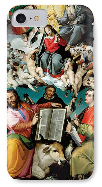 The Coronation Of The Virgin With Saints Luke Dominic And John The Evangelist  IPhone Case by Mountain Dreams