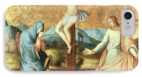 The Crucifixion With The Virgin And St John The Evangelist IPhone Case by French School
