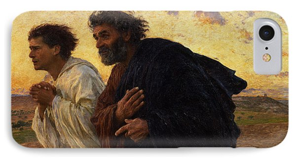 The Disciples Peter And John Running To The Sepulchre On The Morning Of The Resurrection IPhone Case by Eugene Burnand