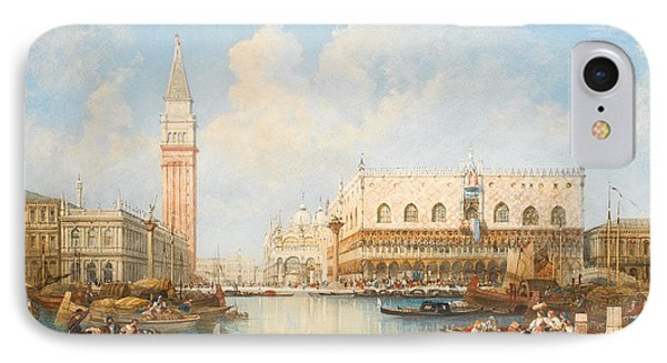 The Doge's Palace And Piazetta From The Lagoon, Venice IPhone Case by William Wyld