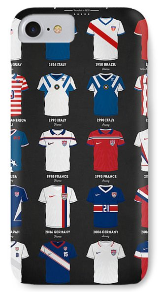 The Evolution Of The Us World Cup Soccer Jersey IPhone 7 Case by Taylan Soyturk