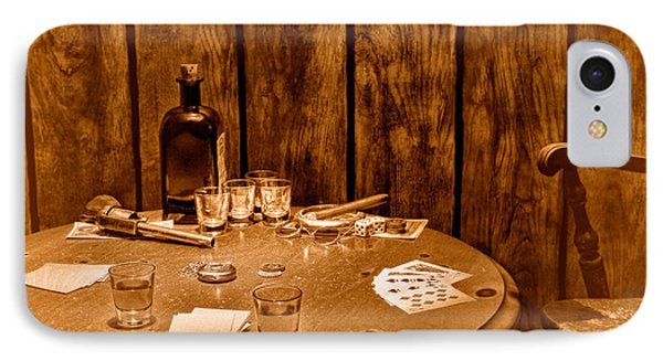 The Gambling Table - Sepia IPhone Case by Olivier Le Queinec