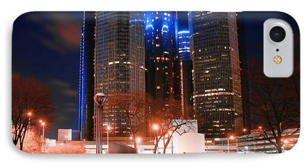 The Gm Renaissance Center At Night From Hart Plaza Detroit Michigan Phone Case by Gordon Dean II