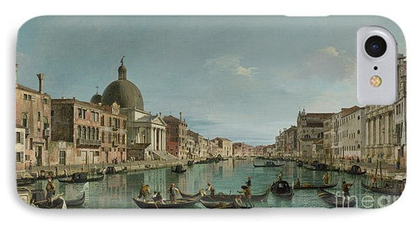 The Grand Canal In Venice With San Simeone Piccolo And The Scalzi Church IPhone Case by Canaletto
