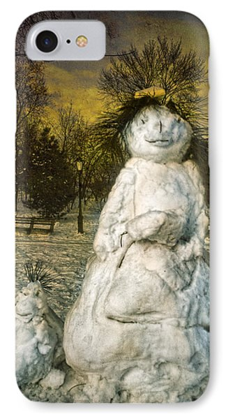 The Grunge Snowperson And Small Goth Friend Phone Case by Chris Lord