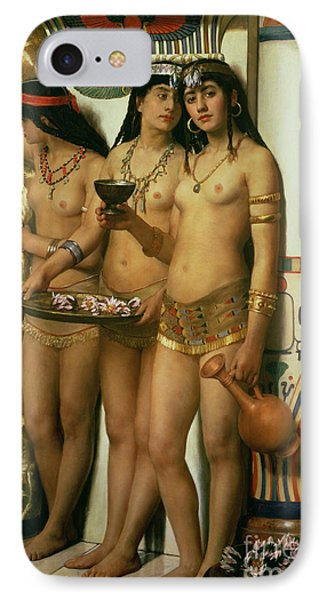 The Handmaidens Of Pharaoh IPhone Case by John Collier
