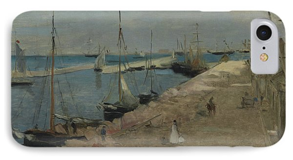 The Harbor At Cherbourg IPhone Case by Berthe Morisot